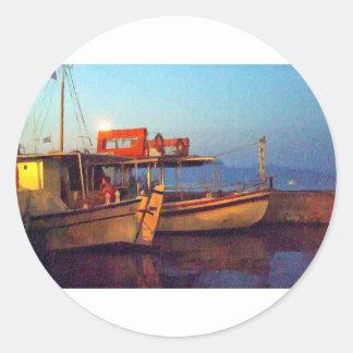 Corfu Harbour At Night Classic Round Sticker