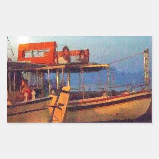 Corfu Harbour At Night Rectangular Sticker