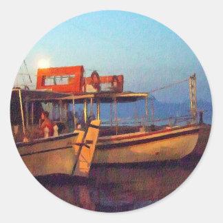 Corfu Town Harbour - Greek Harbour Classic Round Sticker