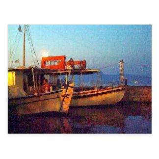 Corfu Town Harbour - Greek Harbour Postcard