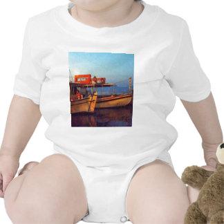 Corfu Town Harbour - Greek Harbour Baby Bodysuits