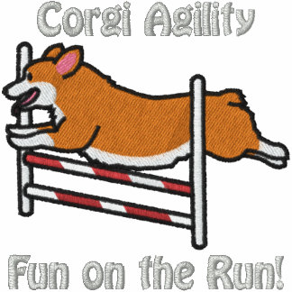 Corgi Agility Jump Embroidered Hoodies