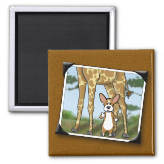 Corgi and Giraffe Snapshots Fridge Magnet
