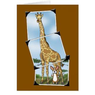 Corgi and Giraffe Snapshots Greeting Card