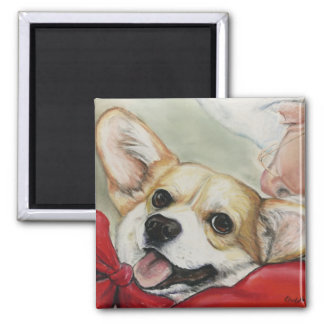Corgi and Santa Christmas Magnet