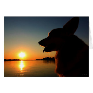 Corgi at Sunset Condolence Card