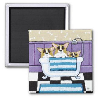 Corgi Bath Time - Cute Dog Art 2 Inch Square Magnet
