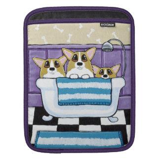 Corgi Bath Time - Cute Dog Art iPad Sleeves