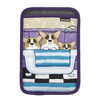 Corgi Bath Time - Cute Dog Art Sleeve For iPad Mini