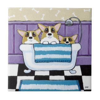 Corgi Bath Time - Cute Dog Art Tile