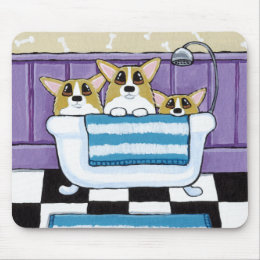 Corgi Bath Time - Cute Dog Painting Mouse Pad