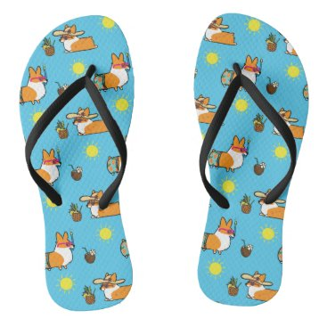 Beach Themed Corgi Beach Party (Red Pembroke) Flip Flops