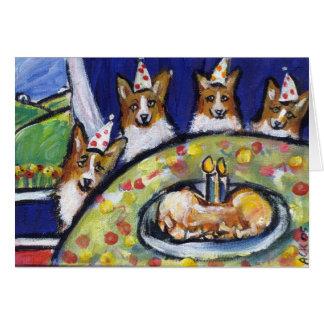 Corgi birthday party card