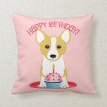 Corgi Birthday Pink Throw Pillow
