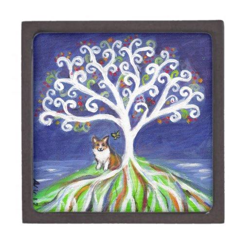 Corgi butterfly spiritual love tree premium keepsake box