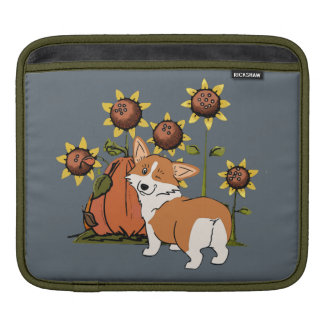 Corgi Cartoon with Pumpkin Sleeve For iPads