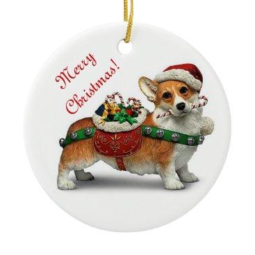 Christmas Themed Corgi Ceramic Ornament