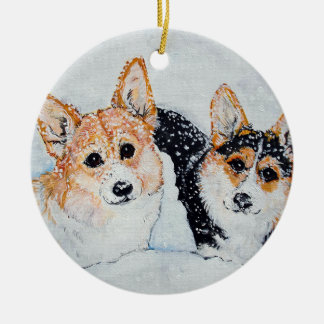 Corgi Christmas Ceramic Ornament