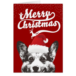 Corgi Clause Merry Christmas Red Holiday Card