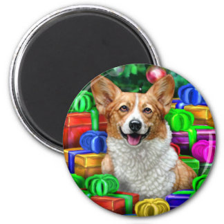 Corgi Cristmas Open Gifts 2 Inch Round Magnet