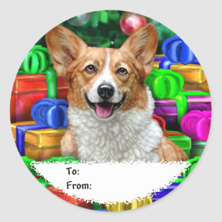 Corgi Cristmas Open Gifts Gift Tags Classic Round Sticker