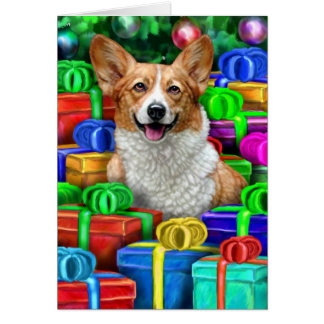 Corgi Cristmas Open Gifts Greeting Card