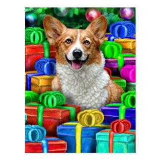 Corgi Cristmas Open Gifts Post Card