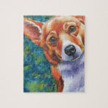 "Corgi Curious Dog Jigsaw Puzzle<br><div class=""desc"">Curious corgi dog original watercolor painting by Rachel M Brown.  Visit Dog-Paintings.com for more dog art.</div>"