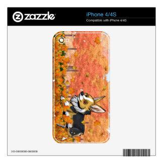 Corgi de la caída calcomanías para el iPhone 4S