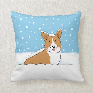 Corgi de la nieve del invierno - un diseño feliz cojín decorativo