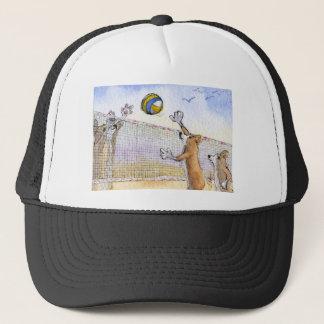 Corgi dog beach volleyball trucker hat