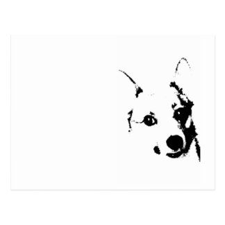 Corgi Dog Black and White Ink Sketch Postcard