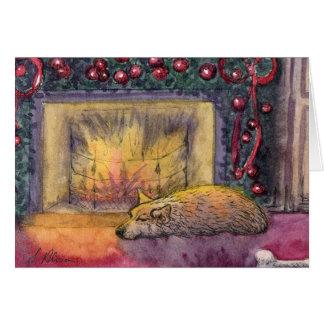 Corgi dog festive dreaming card