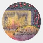 Corgi dog festive dreaming classic round sticker