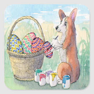 Corgi dog painting Easter eggs, Easter stickers