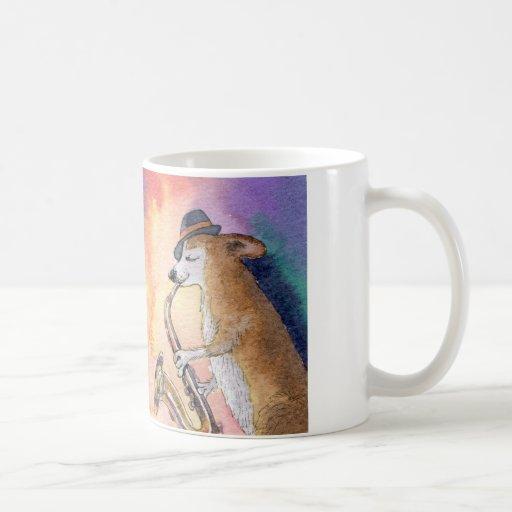 Corgi dog playing his saxophone classic white coffee mug