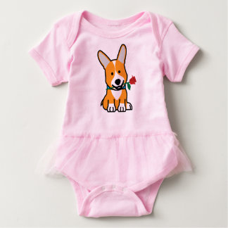 Corgi dog puppy Pembroke Welsh Valentine Rose Baby Bodysuit