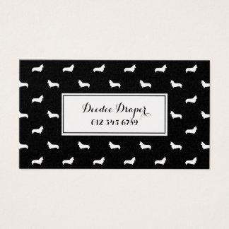 Corgi Dog Silhouette  Black and Gold business card