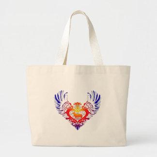 Corgi Dog Winged Heart Tote Bags