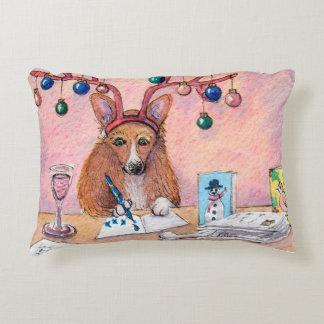 Corgi dog writing Christmas cards, festive cushion