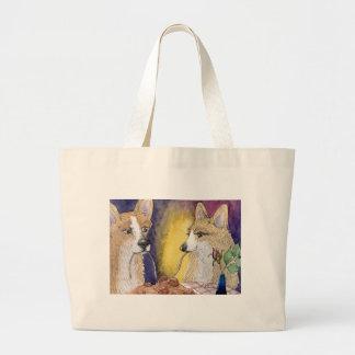 Corgi dogs eating spaghetti and meatballs canvas bag