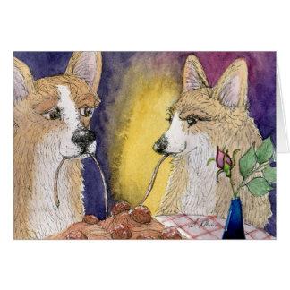 Corgi dogs eating spaghetti and meatballs card