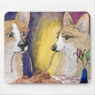 Corgi dogs eating spaghetti and meatballs mouse pad