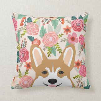Corgi florals spring welsh corgi pillow