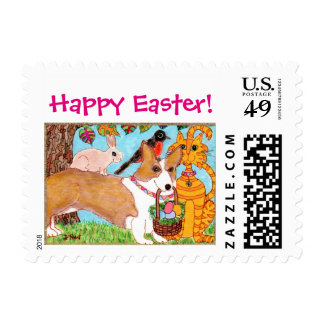 Corgi & Friends with Egg Basket Folk Art Easter Postage Stamp