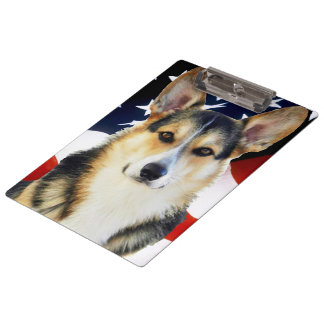 Corgi Galés con la bandera americana