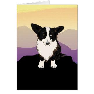 Corgi Galés de las montañas púrpuras Tarjeta De Felicitación