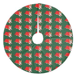 Corgi Galés del vuelo con el cabo rojo Falda Para Arbol De Navidad De Forro Polar