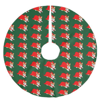 Corgi Galés del vuelo con el cabo rojo Falda Para Arbol De Navidad De Poliéster