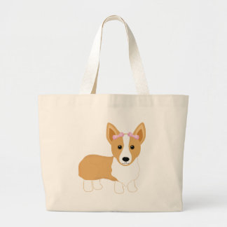 Corgi Girl Dog with Pink Bows Tote Bags